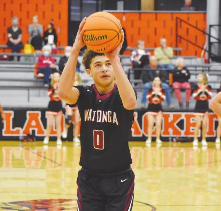 Deondre Dunn shoots a free-throw during a game against Fairview. The boys beat Fairview 33-23 to finish third in the Three Rivers Tournament. Brenda Geels Watonga Republican