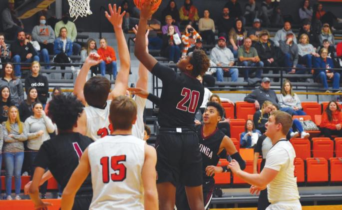 Octivan Brown goes up for two points in a game against Fairview last week. Brenda Geels Watonga Republican